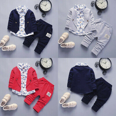 Kid Baby Boy Gentry Clothes Set Formal Party Christening Wedding Tuxedo Bow Suit