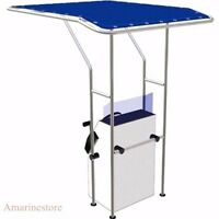 Boat T Top Standard-blue Center Console Canvas And Aluminum Tube