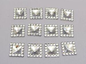 200-Clear-Acrylic-Flatback-Square-Rhinestone-Gems-10X10mm-Embellishments