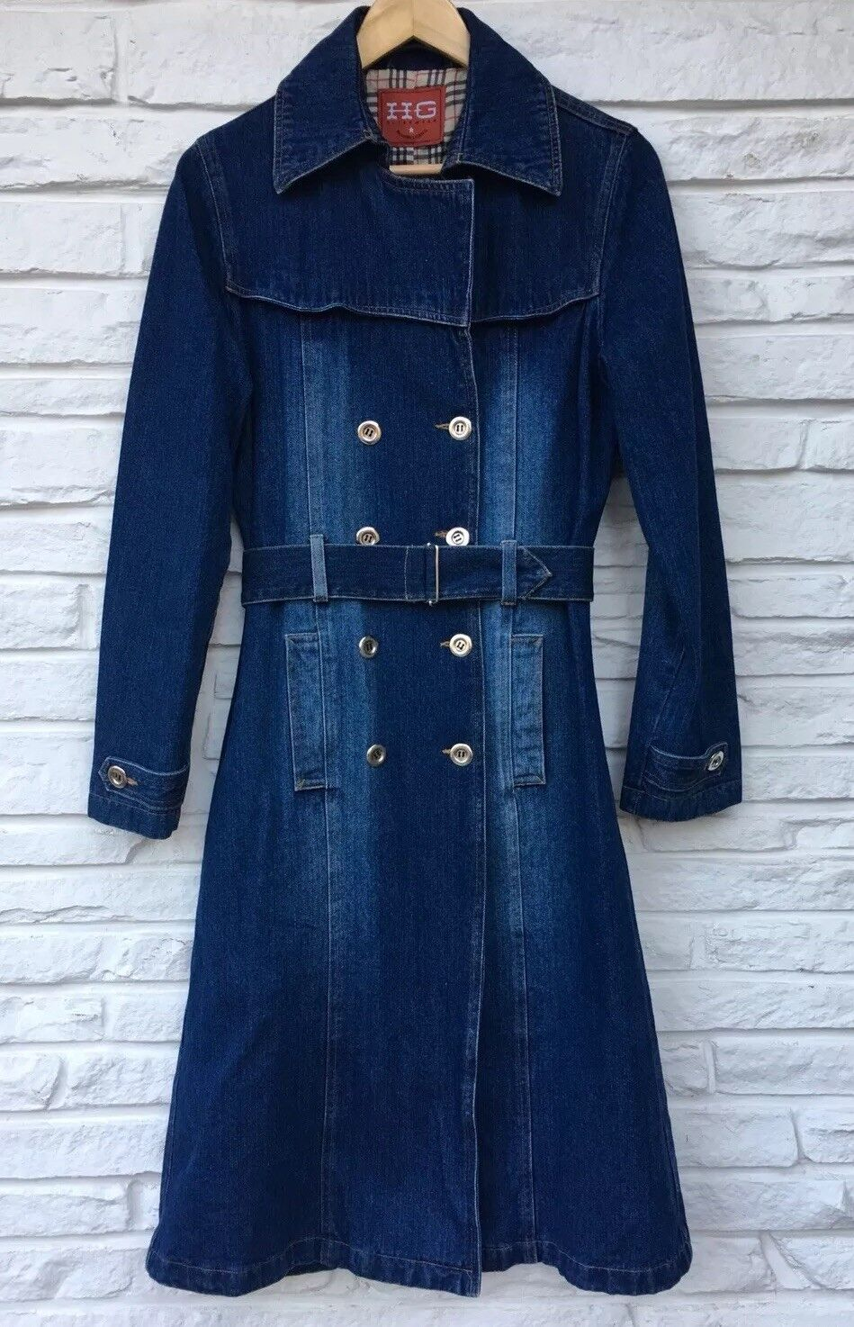 HG Outerwear Rodeo Girl Fully Lined Long Denim Coat Double Breasted Size S M