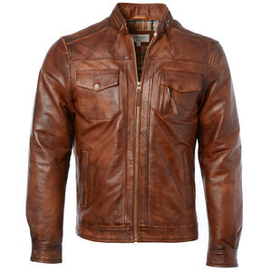 Fit marrone Ashwood morbida Slim da in stile uomo vintage Giacca pelle motociclista chiaro 1895 Z7wvSwaq8
