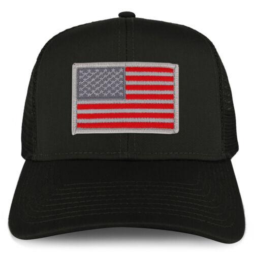 FREE SHIP XXL Oversize Red Grey USA Flag Patch Mesh Back Trucker Baseball Cap