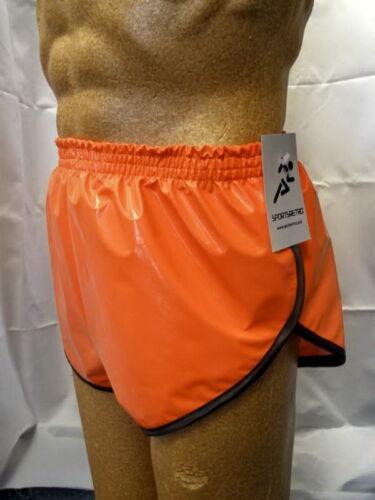 Orange Retro PVC Sprinter Shorts S to 4XL Black Trim