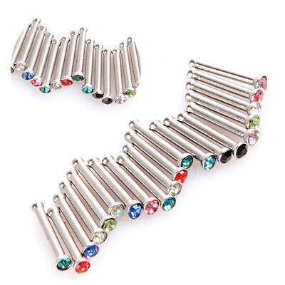 20 PCS Rhinestone Women Nose Rings Bars Studs Piercing Jewelley Stainless Steel