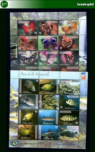 DOMINICAN REPUBLIC BUTTERFLY - FISH 24 Stamps in Sheet MNH - VF