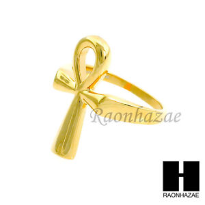 Image Is Loading Men Ring 316l Stainless Steel Gold Egyptian Ankh