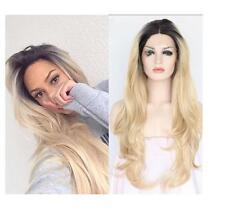 Fashion Women Long Black Root Ombre Blond Hair Full Wigs Heat Resistant Wig +Cap