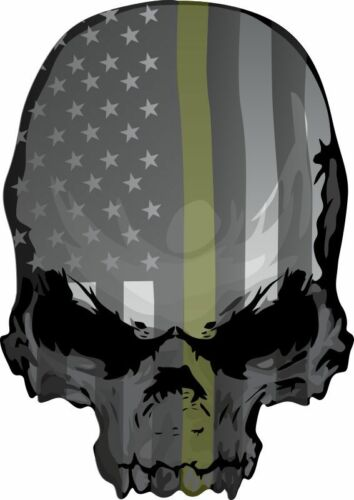 Military Olive Drab Punisher USA Theme Window Decal Various Sizes /& Materials
