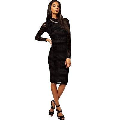 Ex Asos Black Sheer Check Gingham Bodycon Party Midi Dress Size 4 6 8 10 12
