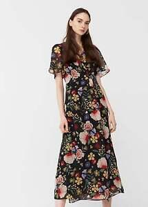 82ec356e154df Mango Estrella Long Floral Print Floaty Wrap Midi Dress UK 8 10 12 ...