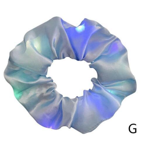 LED Shiny Velvet Hair Scrunchies Ponytail Holder Elastic Hair Ties Band BEST