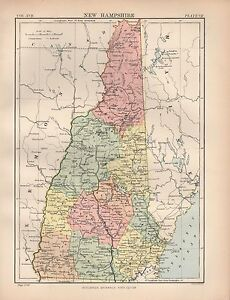 1880 Ca Antique State Map Usa New Hampshire Ebay