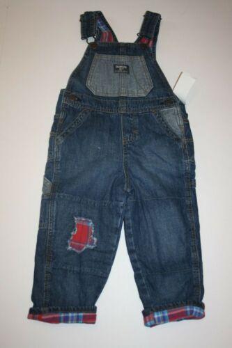 New OshKosh Boys Flannel Red Plaid Lined Rip /& Repair Denim Overalls NWT 2T 4T
