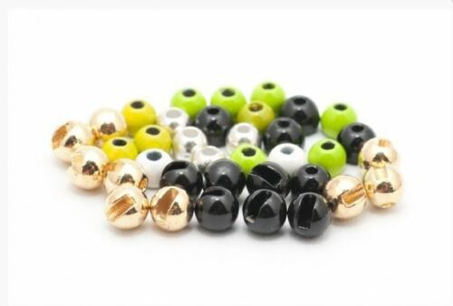 3.5mm,3mm,2.5mm Slotted Tungsten Beads 10pk Gold,Silver,Copper,Black.