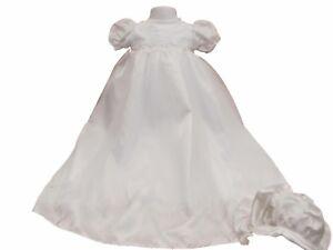 neuf-avec-etiquette-bebe-filles-blanc-beau-satin-BAPTEME-ROBE-MOUSSELINE-toile