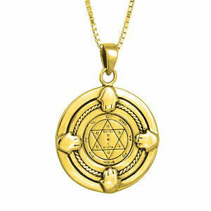 Pendant-Health-Seal-King-Solomon-Amulet-w-Hamsa-Pentacle-Gilding-18K-Silver-925