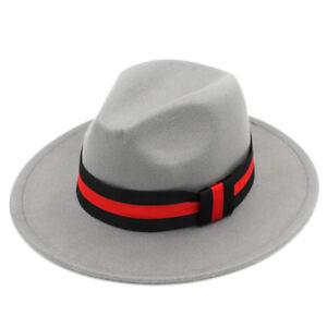 Fashion Women Wool Blend Panama Hat Wide Brim Fedora Caps Red Black ... 425731848d41