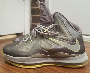 brand new 956af 4a5f7 Image is loading Nike-Lebron-X-10-541100-007-Grey-Yellow-