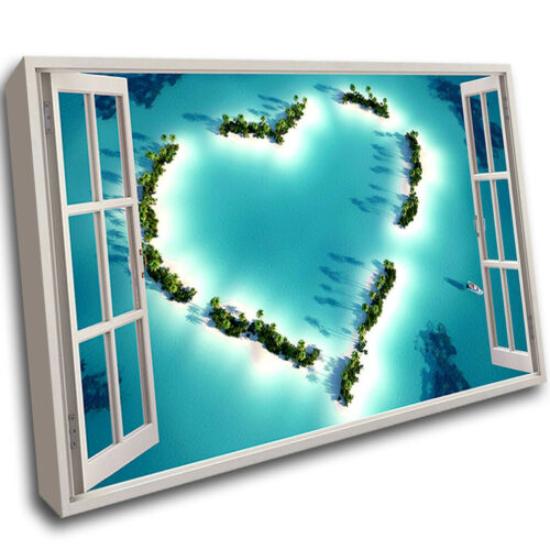 F400 Heart Paradise Sea Reef Scenic Framed Wall Picture 3D Art Canvas Mount Room