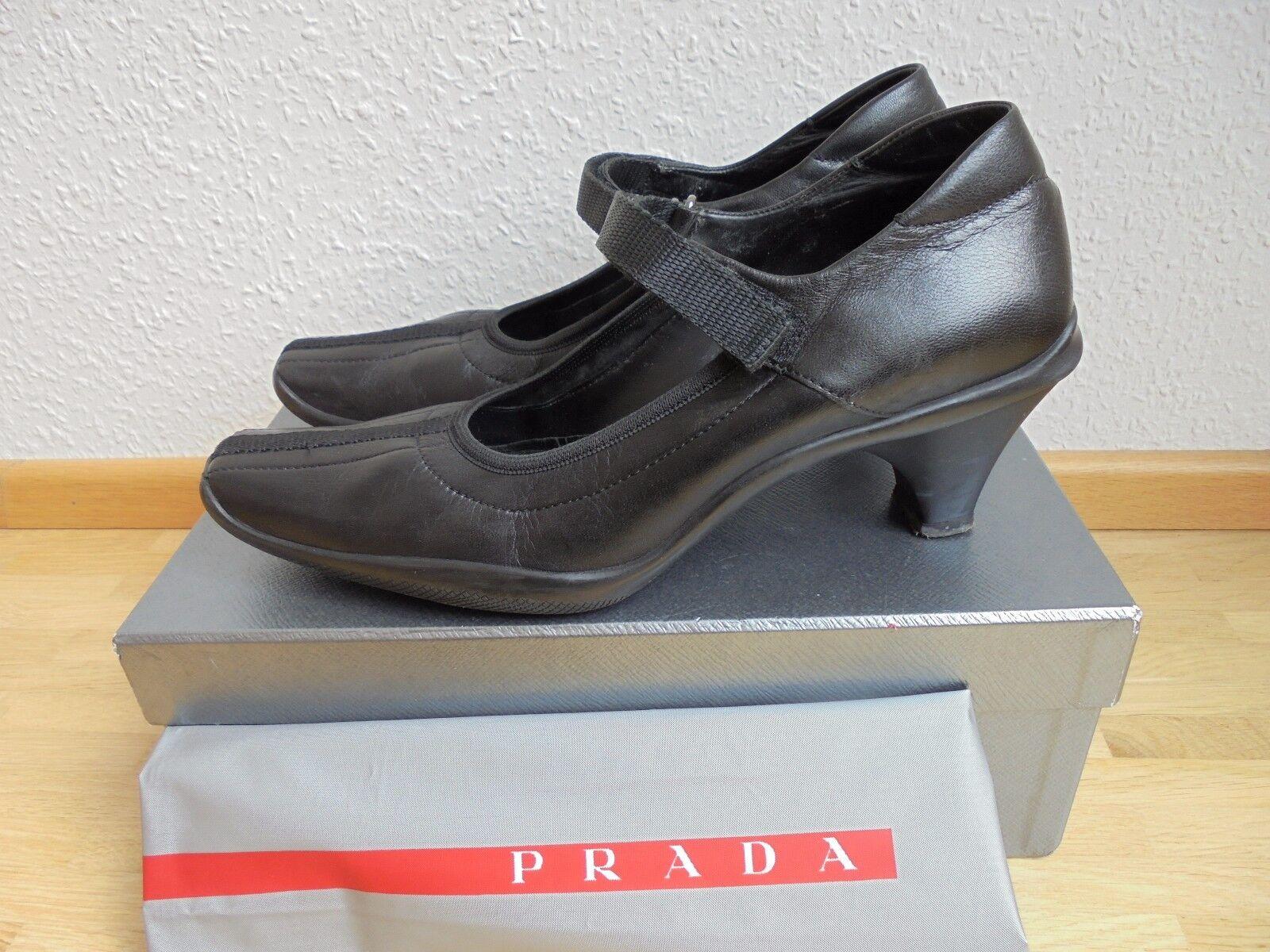Original Prada Leder Pumps NP:  + OVP 39 Tasche Luxus Schuhe Gr. 39 OVP 0a3493