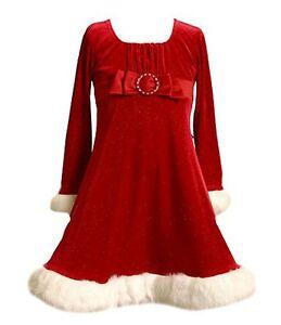 67ed62451 Bonnie Jean Santa Christmas Holiday Velvet Red Dress Little Girls 4 ...