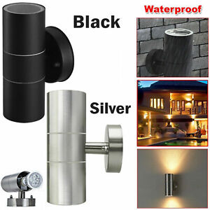 1x Stainless Steel Gu10 Wall Light up Down Ip44 Double Indoor Outdoor LED Lamp.