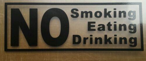 No Smoking signe de boire et de manger Taxi Signes X 3 in environ 7.62 cm Noir
