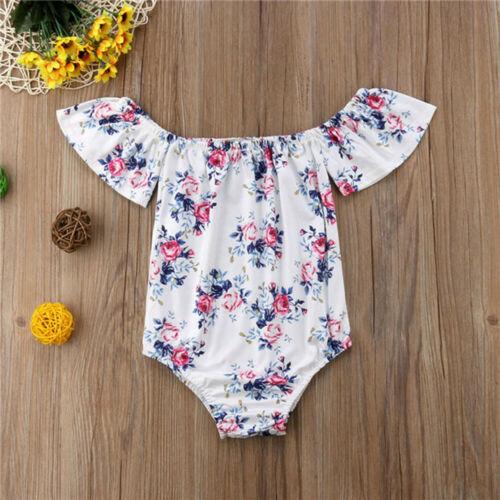 Newborn Infant Baby Girl Cotton Off Shoulder Floral Print Outfit Romper Jumpsuit