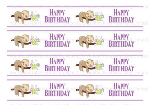 Sloth sloath Happy Birthday Comestibles Ruban Décoration Gâteau Glaçage x 4 bandes