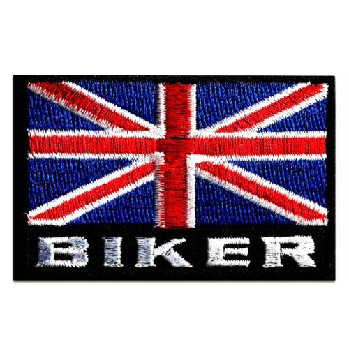 rot//blau 7,4 x 4,8 cm Biker UK England Flagge Fahne Aufnäher // Bügelbild