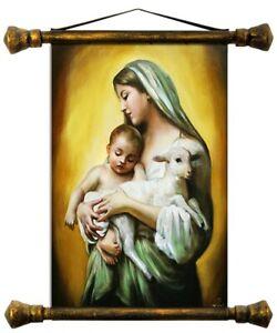 Religion-Maria-Fatto-a-Mano-Quadro-a-Olio-Immagine-Quadro-Telaio-Quadri-G01600