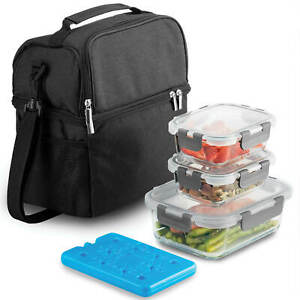 Dual-Compartment-Insulated-Lunch-Bag-with-Glass-Meal-Prep-Containers