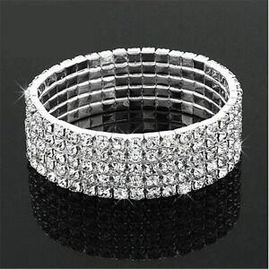 Clear-Silver-Wedding-Bridal-Crystal-Diamante-Rhinestone-Stretch-Bracelet-Hotsell