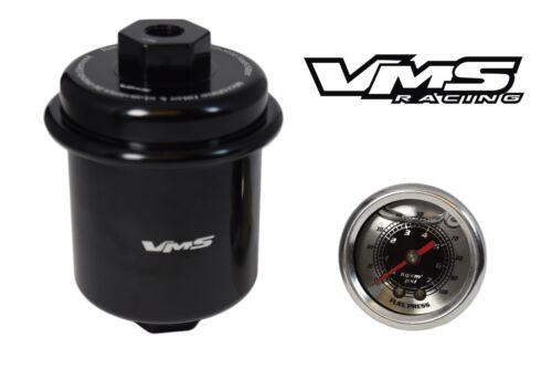 VMS RACING HI FLOW FUEL FILTER 0-100 PSI GAUGE FOR 97-01 HONDA PRELUDE H22A