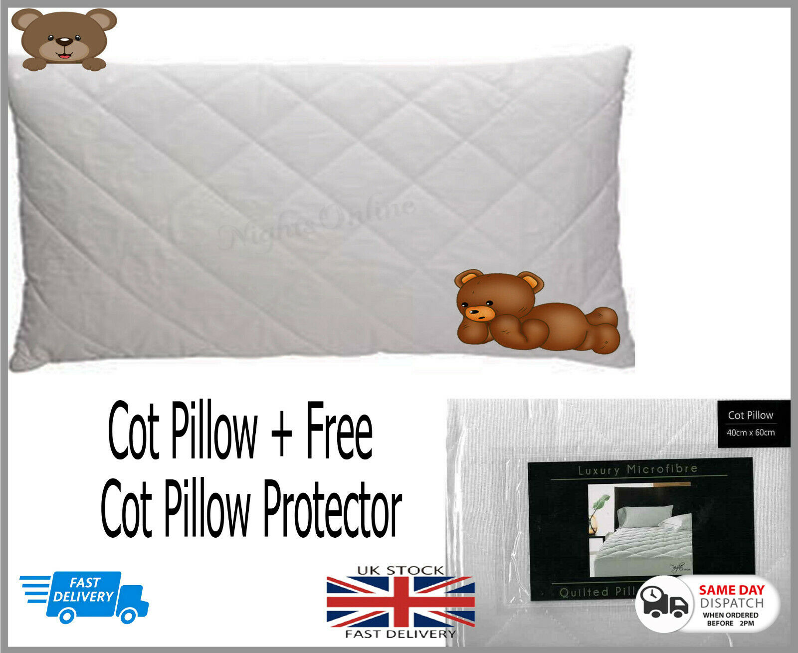 Special Offer*Baby Junior Toddler Cot Pillow Free Quilted Pillow Protector