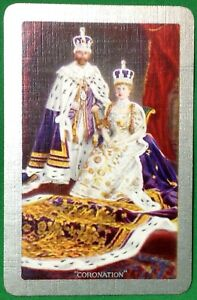 Playing-Cards-1-Swap-Card-Old-Vintage-KING-GEORGE-V-QUEEN-MARY-Royal-CORONATION