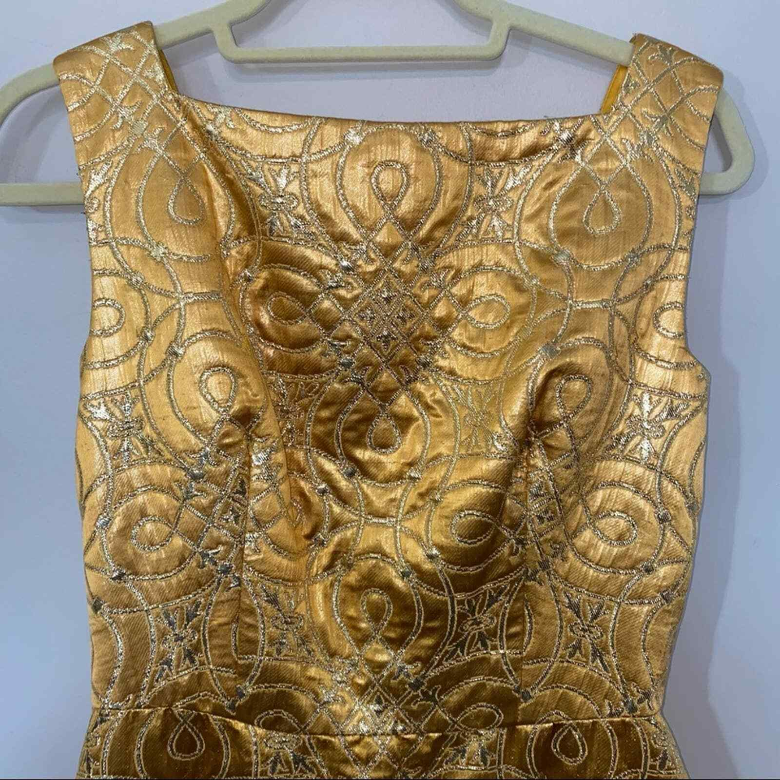 80s Vintage Scaasi Boutique Bombshell Gold Maxi D… - image 5
