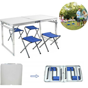 Marvelous Details About Portable 4Ft Foldable Aluminum Camping Outdoor Table Picnic Table With 4 Chairs Uwap Interior Chair Design Uwaporg