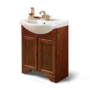 Mobile bagno in arte povera con 2 ante in legno noce lavabo in ...
