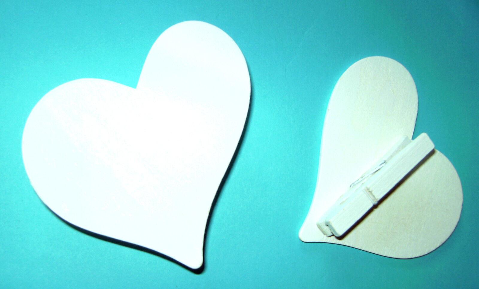 100 x weiße Herzklammer Herzklammern mit Herz Motiv Holz Herzclip Hochzeit 8cm
