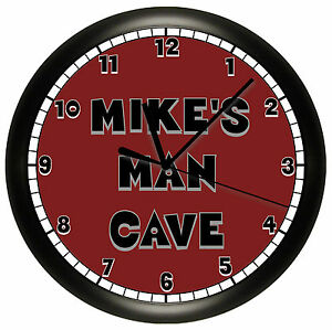 Alabama man cave wall clock red personalized gray crimson for Alabama football wall mural