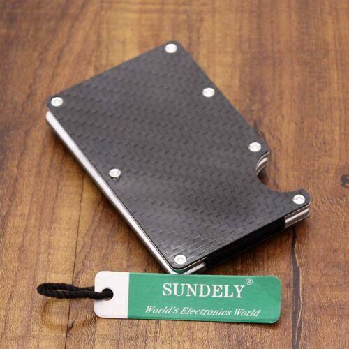 New Metal Carbon Fiber Slim ID Credit Card RFID Protector Holder Purse Wallet UK