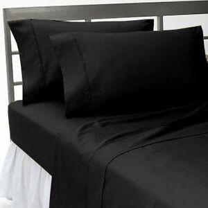 Negro-solido-de-todos-los-articulos-de-ropa-de-cama-1000-Hilos-100-Algodon-Egipcio-tamanos-de-EE-UU