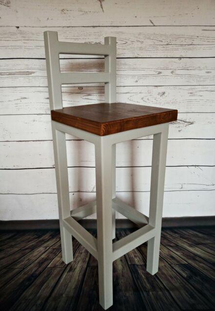 Wooden Bar Stool Breakfast Kitchen Bar High Chair Footrest Handmade