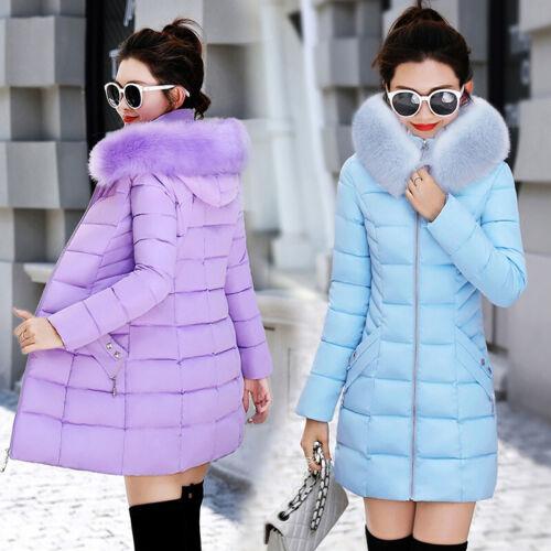 Women Large Fur Collar Hooded Cotton Jacket Slim Winter Coats Warm Outwear M-3XL