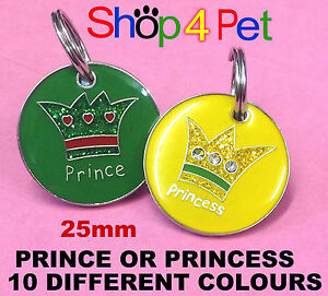 Dog-Cat-Tag-Quality-25mm-PRINCE-or-PRINCESS-PET-ID-TAGS-with-ENGRAVING-OPTIONS