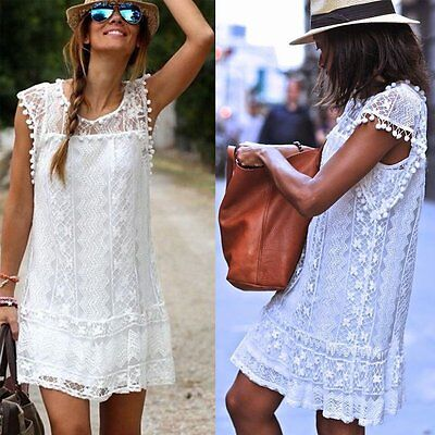 Sexy Women Summer Casual Sleeveless Evening Party Cocktail Lace Short Mini Dress