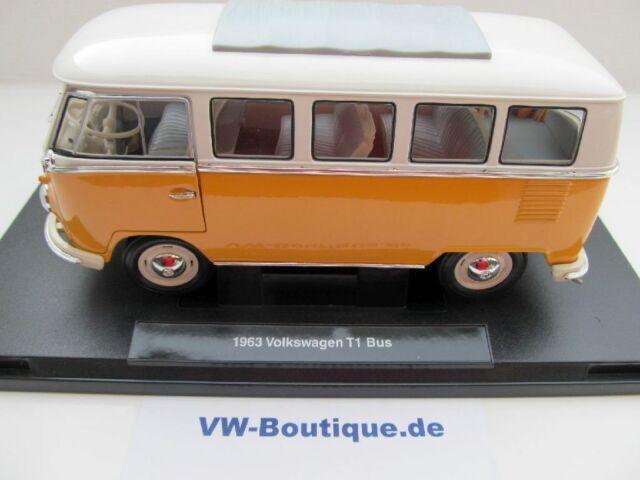 + VOLKSWAGEN VW Bus T1 Bus  in 1:18 von Welly  gelb-weiss NEU  12531W