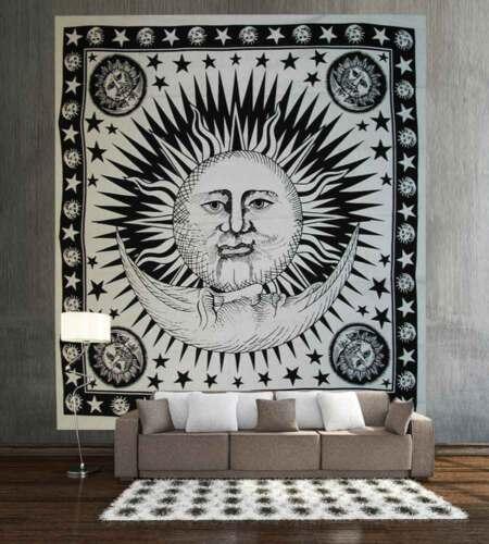 Sun Moon Mandala Tapisserie Hippie Wohnheim Dekor Twin Wand hängen Tagesdecke