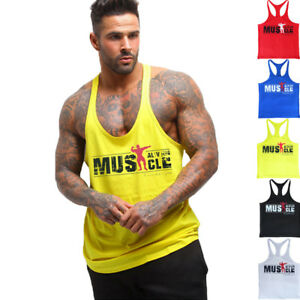 64f0dea210153 Fitness Men s Cotton Tank Tops Bodybuilding Y-Back Casual Stringer ...